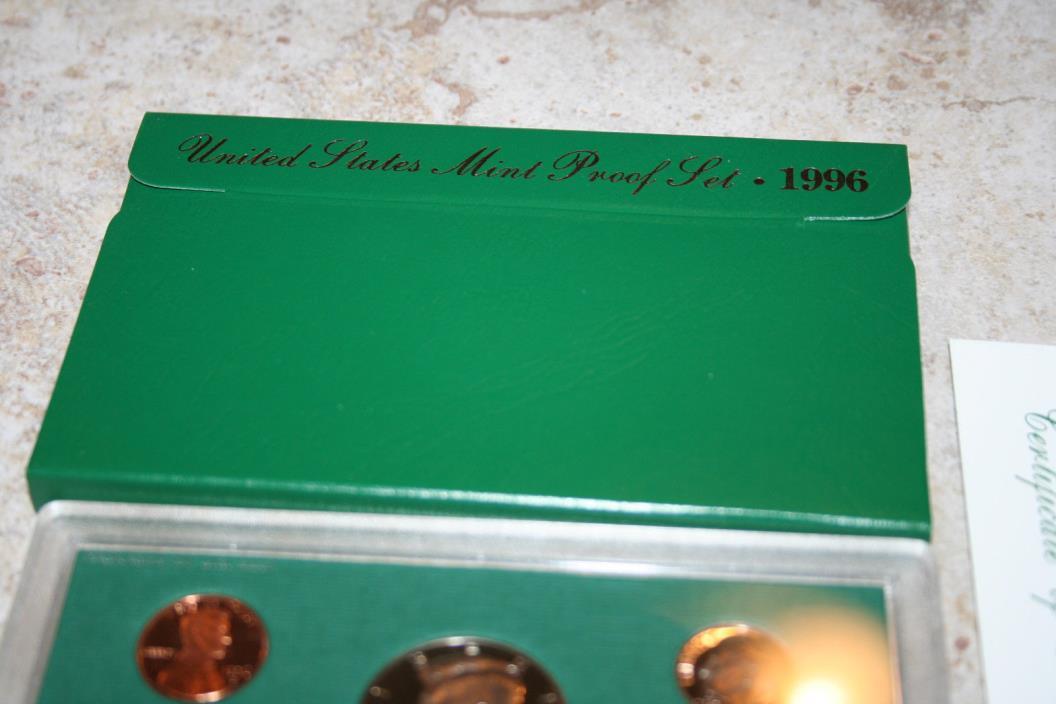 1996,US Mint Proof Set,Kennedy Half,Deep Cameo,COA,Birth Year,Gift,Free Ship,110