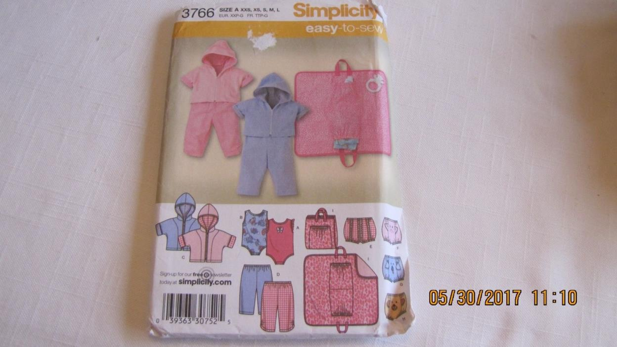 Simplicity Pattern 3766 - Babies Pants, Diaper Cover, Hoody, Changing Pad
