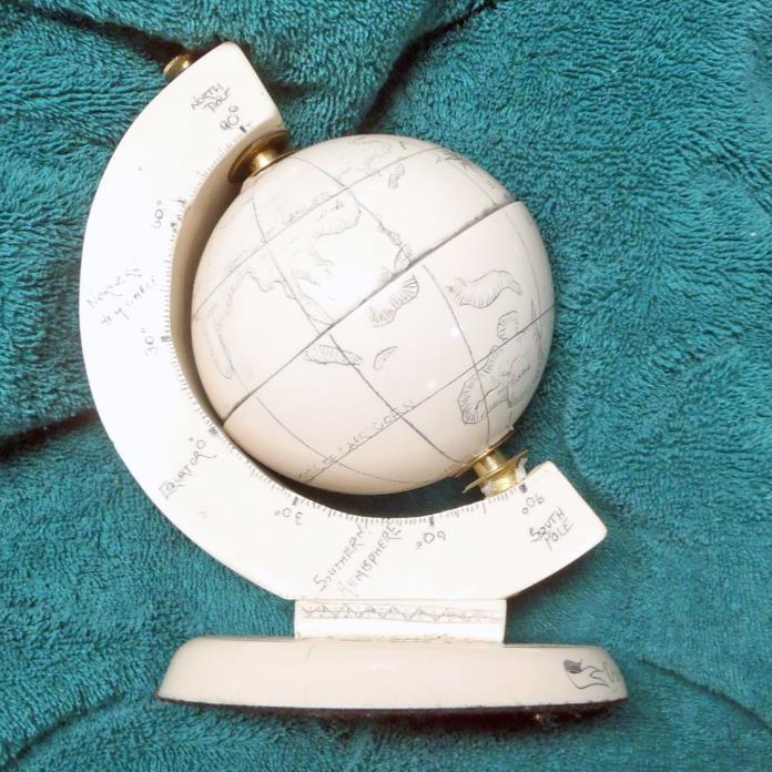 Ceramic Globe in Wood Holder Decorative Shelf Bookcase Desk Furnishing
