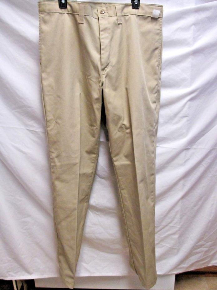 Dickies Occupational Wear Pants 36 X 33  Khaki Adjustable Waist New