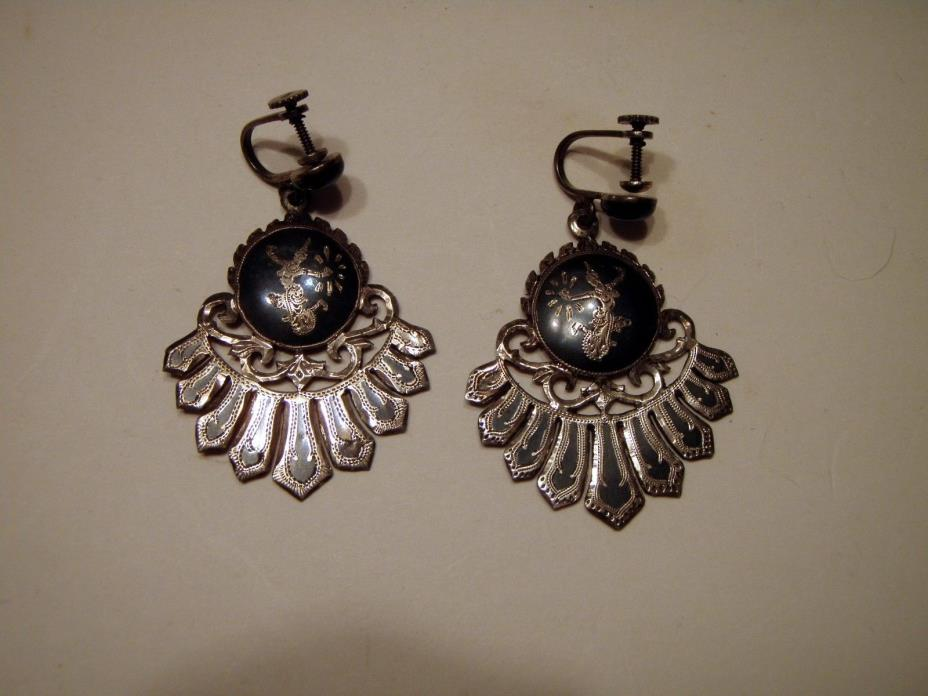Vintage Silver Siam Earrings Womens Ladies