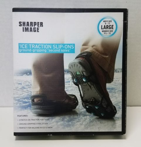 NEW-Sharper Image Ice Traction Slip Ons Size Large Mens 8-13 Womens 9½-12-Unisex