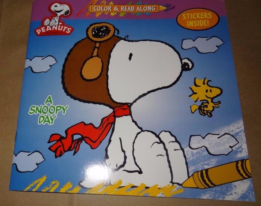 Peanuts Color and Read Along Book With Stickers A SNOOPY DAY  New