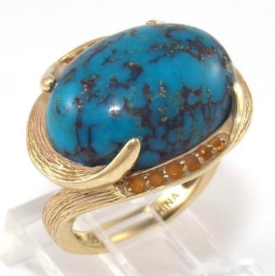Solid 14K Yellow Gold Blue Turquoise Orange Citrine Ring Size 5