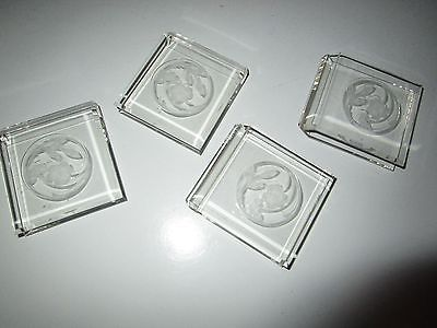 VINTAGE CLEAR SQUARE FLORAL DESIGN NAPKIN RINGS SET OF 4
