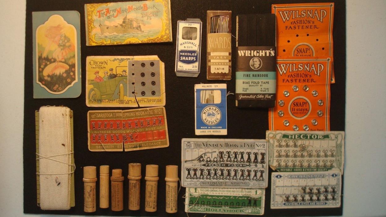 HUGE Lot of Vintage Sewing Supplies. Great Advertising Needles, Hook Snap,