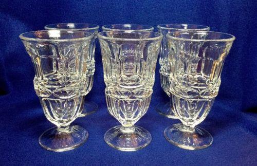 6 FOSTORIA ARGUS CLEAR Stemmed Iced Tea Glasses 6 5/8