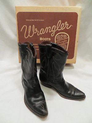 Vtg Wrangler Black Leather Child Cowboy Western Boots Boys 13 1/2 D