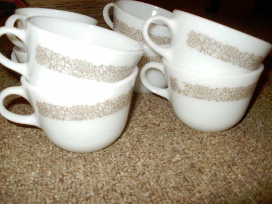 Pyrex Corelle Cups Woodland Brown 8 Milk Glass Cups