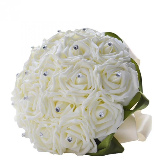 Clearbridal Artificial Flowers Rose Wedding Bouquets With Crystals WF001 (Free S