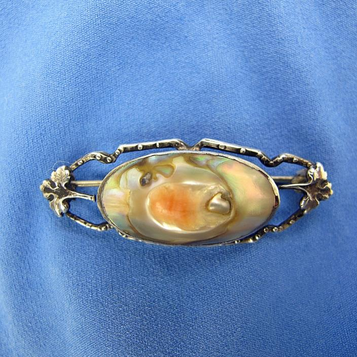 Antique Victorian Sterling Mother Of Pearl/Abalone Blister Brooch C Clasp XLNT