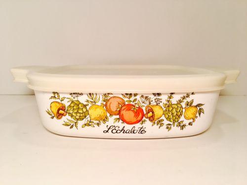 Vintage Corning Ware Casserole Dish Spice of Life L'ECHALOTE 1 Liter Bowl w/ Lid