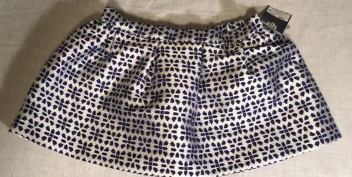Genuine Kids Baby Girls Skirt 18M White/Navy Blue Shapes Lined Elastic Waist NWT