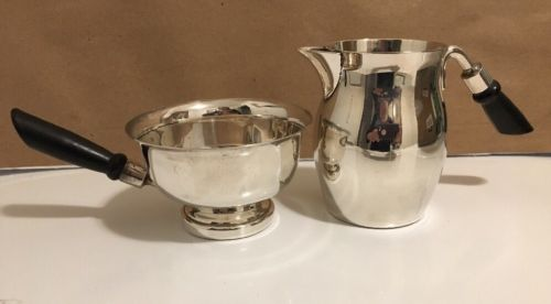 2 Vintage SSS Silver Plate Dish And Pitcher With Black Wooden Handles
