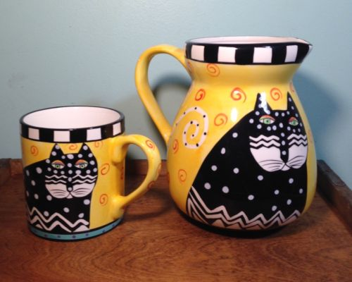 1998 Laurel Burch Whimsical Black Cat Pitcher Spotted Yellow mug cup retired