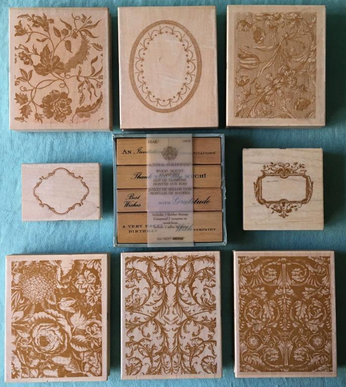 Anna Griffin large card rubber stamp lot floral border scrapbook wood mount
