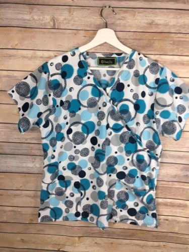 Bonita Scrubs Large Top Blue white Circle novelty print pockets workwear nursing