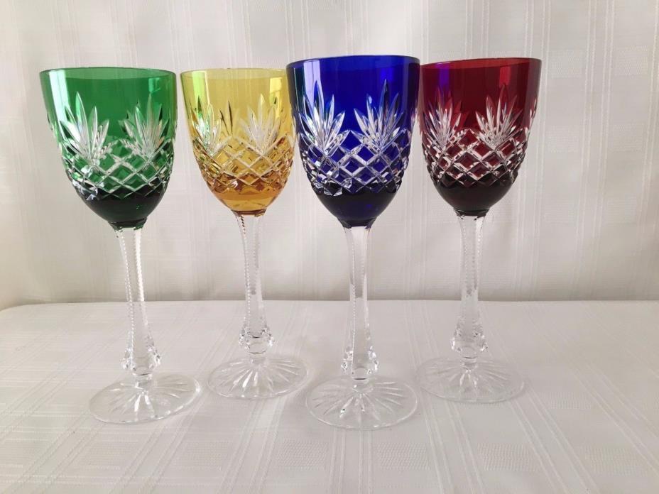 4 Faberge Odessa colored Wine Glasses signed 8 3/8