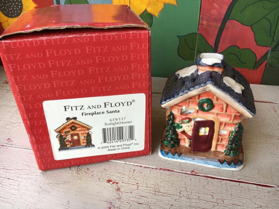 FITZ AND FLOYD Fireplace Santa tealight home