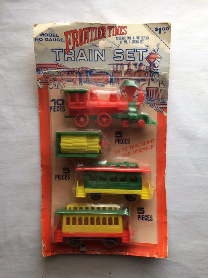Frontier Times train set model HO scale, vintage plastic toy