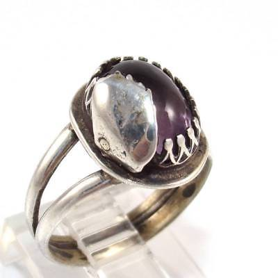 Vintage Antique Sterling Silver Purple Amethyst Leaf Ring Size 6.5