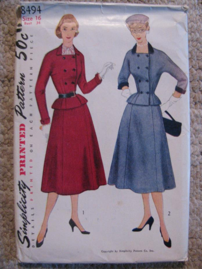1950's Women's dress with squared neckline-Simplicity Pattern #8494- sz 16/34