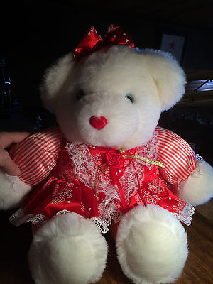 Huge White Plush Dressed Bear with Hearts and Roses