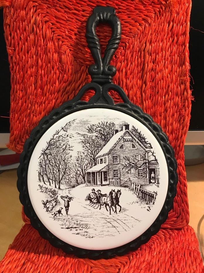 VINTAGE WINTER SCENE Decorated Round Ceramic Tile in CAST IRON FRAME & HANDLE