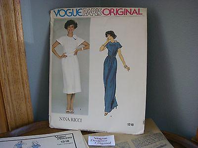 Uncut VOGUE PARIS ORIG Nina Ricci pattern 1318 misses 12 w cloth label