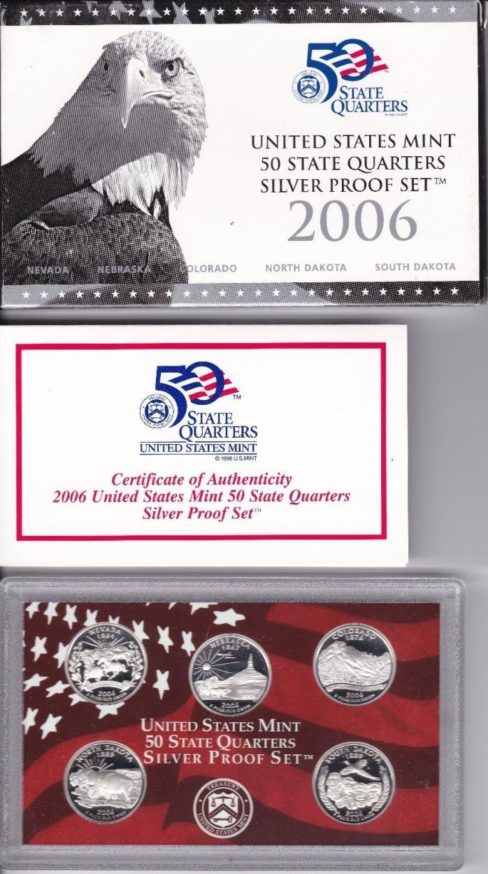 2006-S U.S. Mint 50 State Quarters - Silver Proof Set w/Box & COA