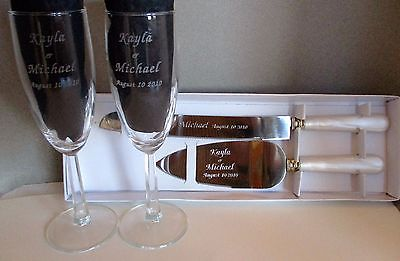 wedding champagne glasses & cake server essence of pearl handles personalized