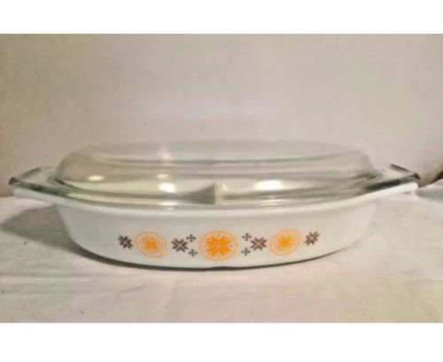 Vintage 1960s Pyrex Town & Country 1.5Q Divided Covered Casserole Dish Glass Lid