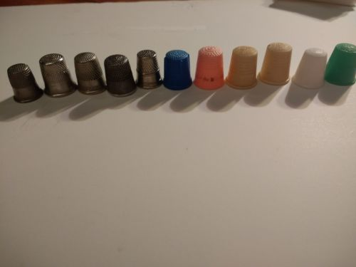 Vintage Antique Sterling Silver Plastic Steel-Lot of 11 Thimbles