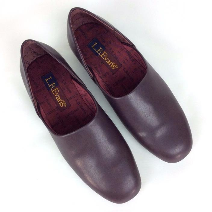 L.B. EVANS Mens Radio Tyme Luxury Slippers Opera Shoes 1409 Brown Leather Sz 8M