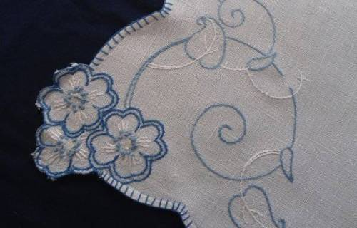 Vintage Irish Linen Table Runner Blue Art Deco Embroidery Dresser Scarf 42