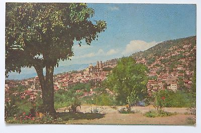 Postcard Aerial View Taxco Mexico Hillside Linen Posted