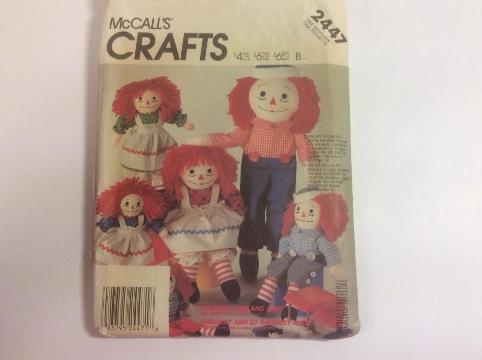 McCALLS #2447 CRAFT PATTERN OF RAGGEDY ANN AND ANDY, CUT AND UNCUT