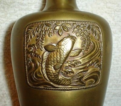 Antique Japanese Bronze Vase With A Decorative Fish Panel