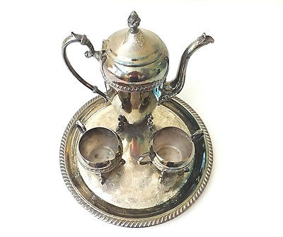 Crosby Vintage Tea Set Silverplated Teapot Creamer Sugar Bowl Footed Flat Tray