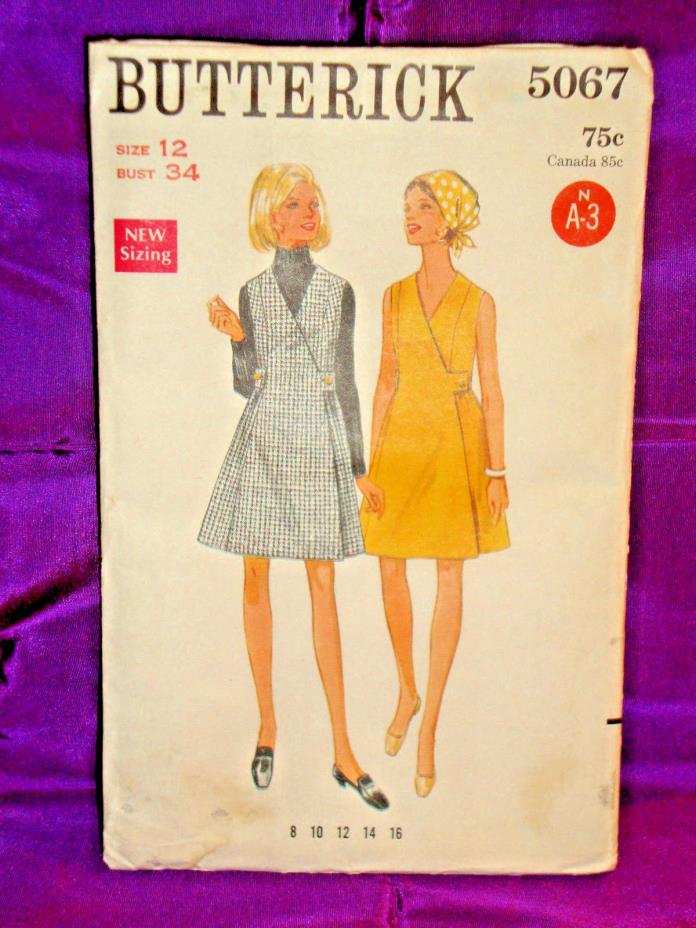 60s Vtg Mod Wrapped Dress or Jumper w Side Tab Close FF Butterick 5067 Bust 34