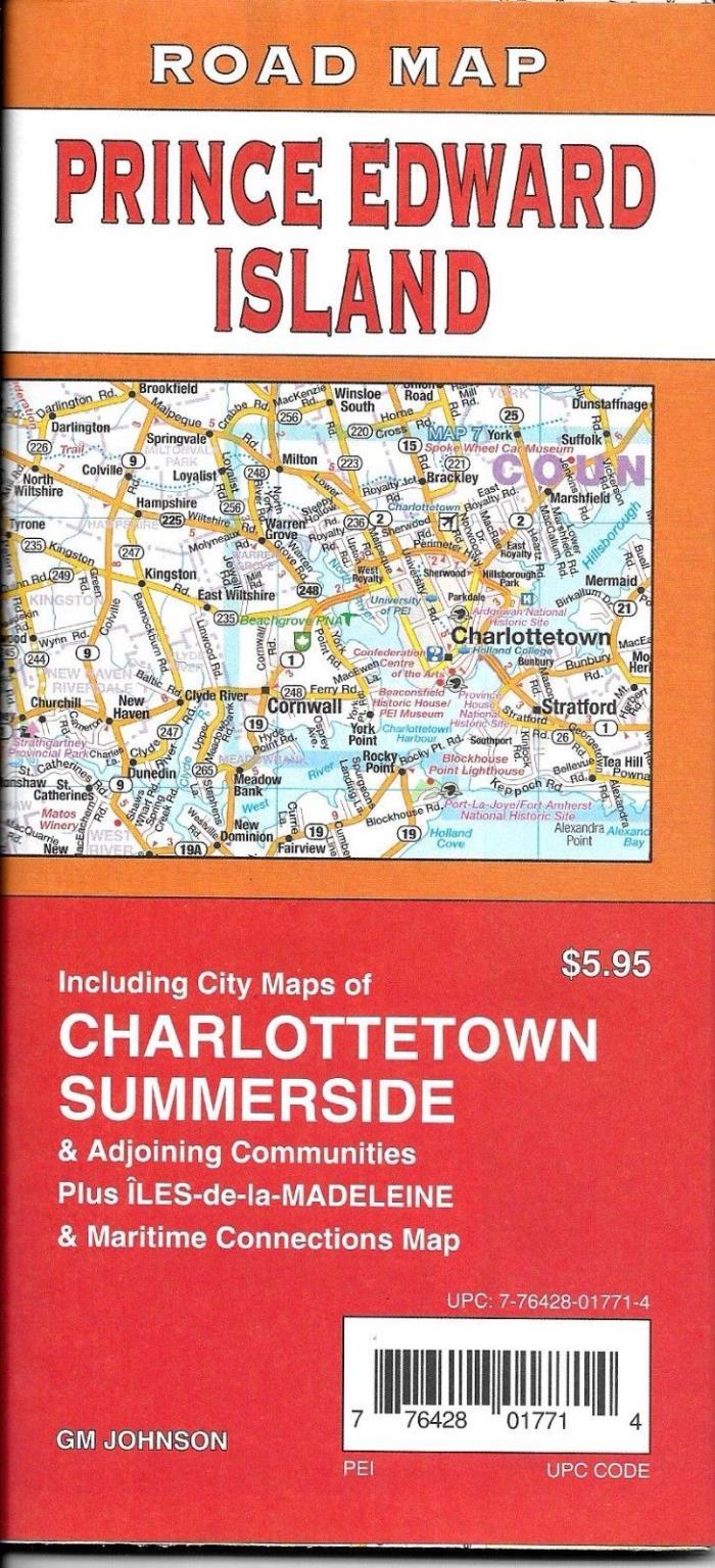 Road Map of Prince Edward Island, Charlottestown & Summerside, Canada, by GMJ Ma