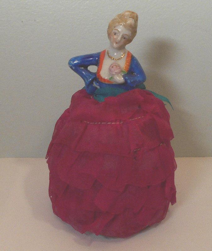 Vintage Porcelain Half Doll Pin Cushion Lady-sewing notion figure-Japan