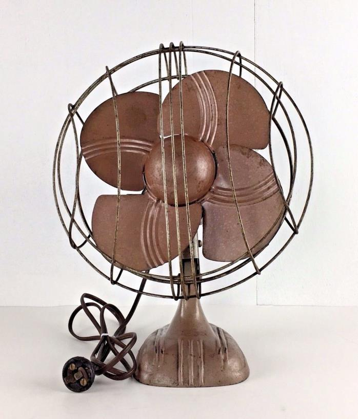 Vintage Art Deco Electric Fan One Speed Works Made-Rite Gift