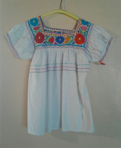 Hand Embroidered Mexican Cotton Blouse Top Flowers White Cotton szS Womens Girls