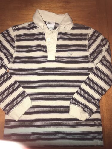 IZOD LACOSTE Striped Blue & Tan ALLIGATOR Polo Shirt YOUTH 8 Rugby Vintage Wash