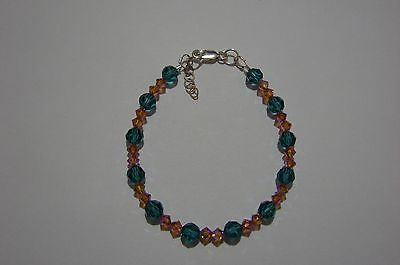 Bracelet made with Indicolite + Topaz AB2X Swarovski Crystals + Sterling Silver