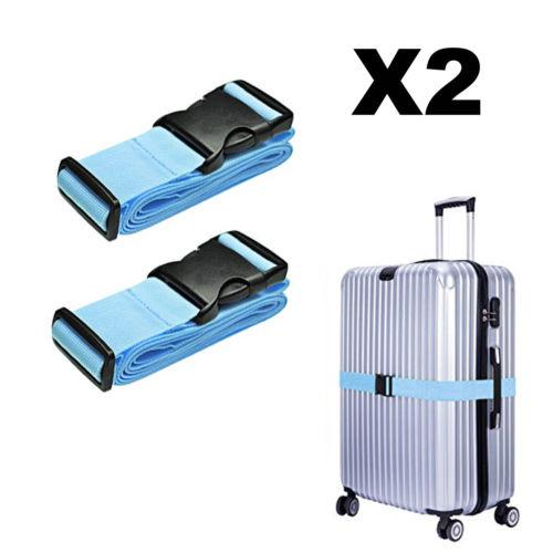 2PCS Nylon Travel Suitcase Strap Luggage Baggage Backpack Bag Packing Belt Blue