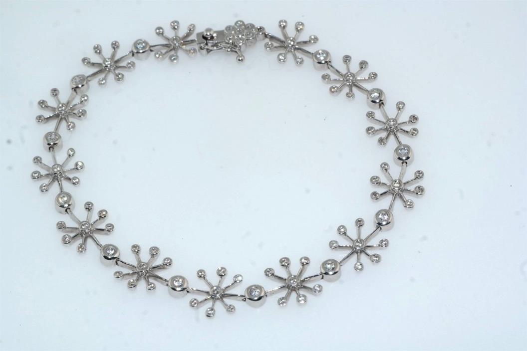 White Sapphire Snowflake 18k White Gold Bracelet