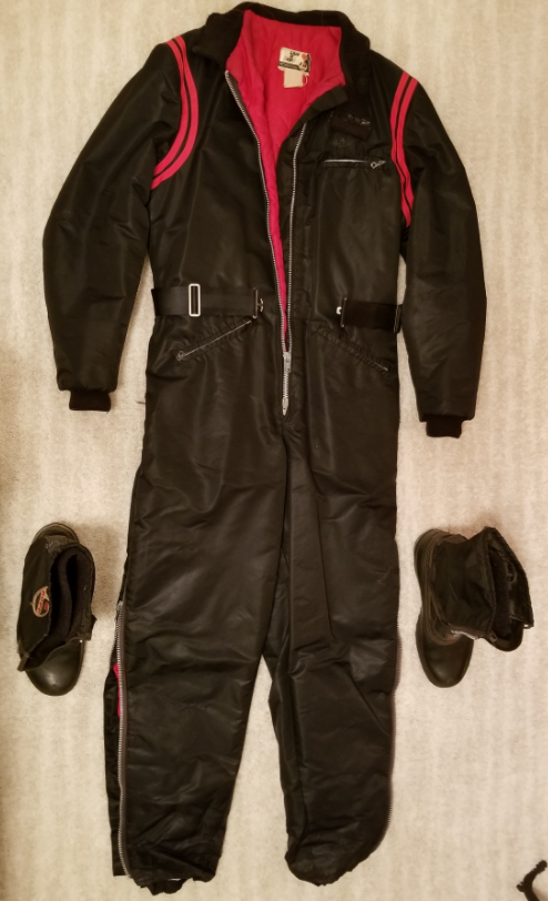 Rare Vintage Men's RUPP Snowmobile Snow Suit Med-Tall & RUPP Boots Size 10