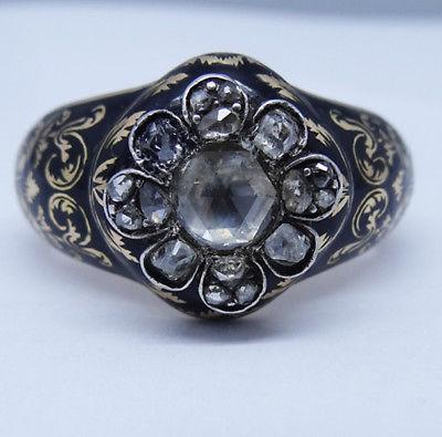 Antique Queen Anne Georgian Ring Enamel Gold Diamond for Man / Woman Big (#5727)